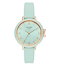 kate spade new york Women's Park Row Green Leather Watch