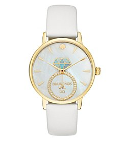 kate spade new york Women's White Leather Goldtone Watch