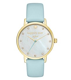 kate spade new york Women's Blue Leather Goldtone Watch