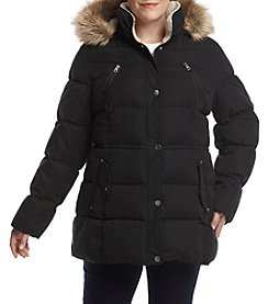 Nautica Plus Size Down Coat With Faux Fur Trim Hood