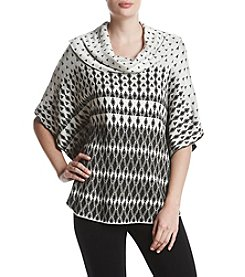 Fever Diamond Printed Cowl Neck Poncho