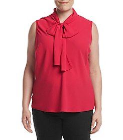 Nine West Plus Size Matte Crepe Bow Blouse