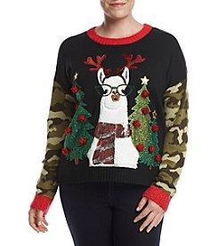 Love Always Plus Size Camo Sleeve Llama Sweater