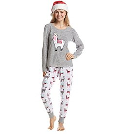 Zoe & Bella @BT Fleece Llamas Pajama and Santa Hat