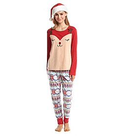 Zoe & Bella @BT Pajama and Hat Fleece Reindeer Set