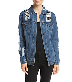Boom Boom Destructed Denim And Mesh Jacket