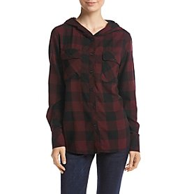 Hippie Laundry Buffalo Check Hooded Shirt