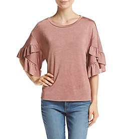 Lily White Ruffle Sleeve Knit Top
