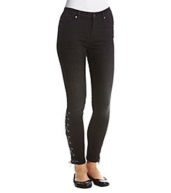 Vigoss Lace-Up Distress Skinny Jeans