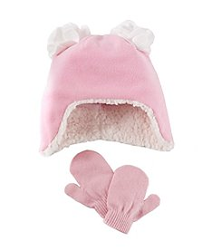 Miss Attitude Girls' 2T-4T Glitter Fleece Hat With Poms And Mittens Set