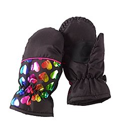 Miss Attitude Girls' 4-6X Rainbow Heart Print Mittens