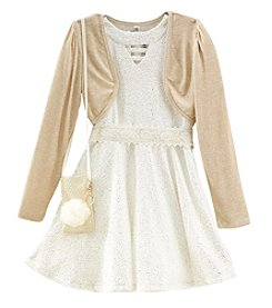 Beautees Girls' 7-16 2 Piece Dress and Cardigan Set