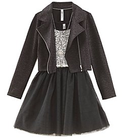 Beautees Girls' 7-16 Dress With Foil Moto Jacket
