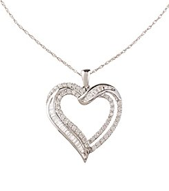 Effy 0.98 ct. t.w. Diamond Heart Sterling Silver Pendant Necklace