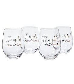 Living Quarters Set Of Four Stemless Wine Glasses