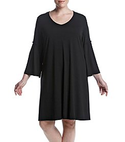 Cupio Plus Size Bell Sleeve V-Neck Shift Dress