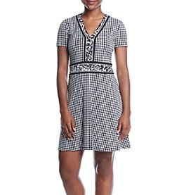 MICHAEL Michael Kors Petites' Houndstooth & Leopard Border Dress