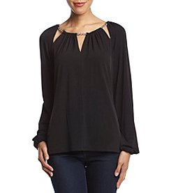 MICHAEL Michael Kors Slit Neck Peasant Top