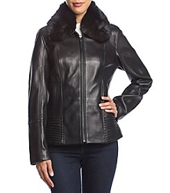Jones New York Faux Fur Collar Leather Coat
