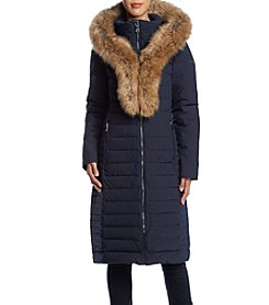 Calvin Klein Exaggerated Faux Fur Collar Coat