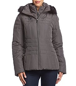 Calvin Klein Short Down Coat with Faux Fur Hood