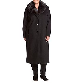 Forecaster Plus Size Faux Fur Collar Wool Coat