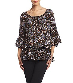 Fever Ruffle Hem Printed Top