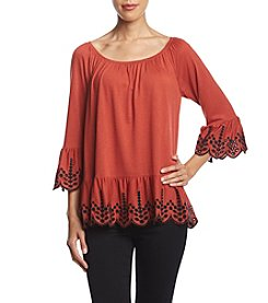 Fever Embroidered Bell Sleeve Top