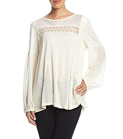 Penelope Rose Ivory Lace Inset Peasant Top