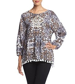 Penelope Rose Babydoll Abstract Pattern Print Top