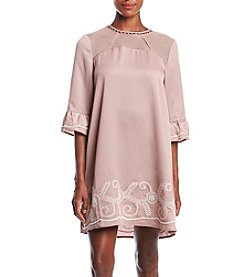 Penelope Rose Embroidered Ruffle Sleeve Dress