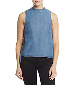Catherine Malandrino Chambray Lace-Up Top