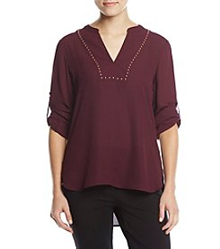 Ivanka Trump Roll Sleeve Stud Detail Blouse