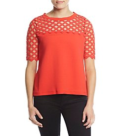 Catherine Malandrino Lattice Yoke Top