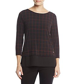 Ivanka Trump Plaid Sheer Layered Hem Top