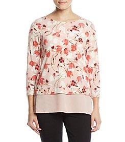 Ivanka Trump Floral Sheer Layered Hem Top