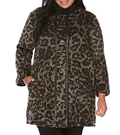 Rafaella Plus Size Cheetah Button Jacket