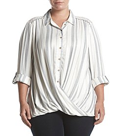 Vintage America Blues Plus Size Mackenzie Stripe Crossover Top