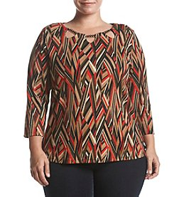 Rafaella Plus Size Angular Stripes Top