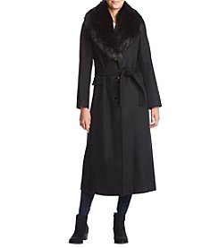 Calvin Klein Long Belted Wool Faux Fur Collar Coat