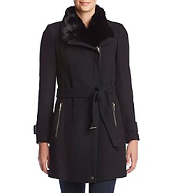 Calvin Klein Belted Wool Walker Faux Fur Collar Coat