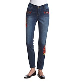 Bandolino Floral Embroidered Skinny Jeans