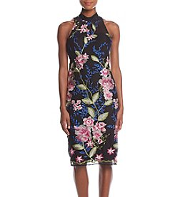 Nicole Miller New York Floral Embroidered Fitted Cocktail Dress