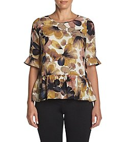 Spense® Floral Print Ruffle Top