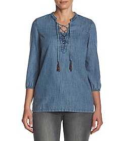 Ruff Hewn Lace Up Denim Top