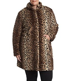 Via Spiga® Plus Size Reversible Faux Fur Printed Coat