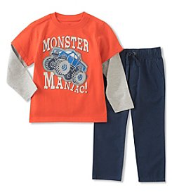Kids Headquarters Boys' 2T-7 Long Sleeve Monster Maniac Shirt with Pants Set