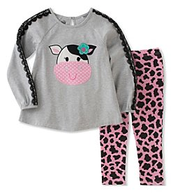 Kids Headquarters Baby Girls' 2 Piece Long Sleeve Cow Tunic and Leggings Set