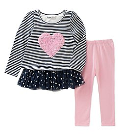 Kids Headquarters Baby Girls' 2 Piece Long Sleeve Heart Tunic and Leggings Set