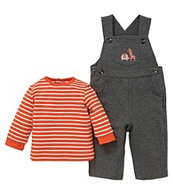 Little Me Baby Boys' 2 Piece Long Sleeve Shirt and Safari Overalls
